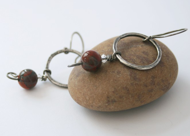 TB Oxidised silver hoop earrings with crystal and jasper