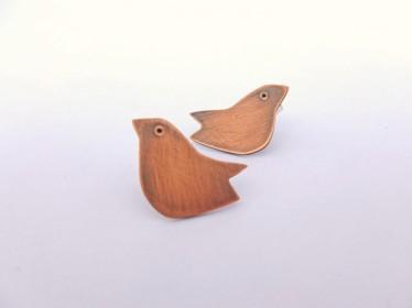 Copper folk bird earrings the little red hen