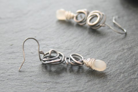 Oxidised silver & moonstone dangle earrings