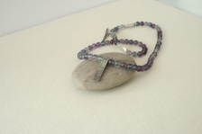 Rainbow Fluorite bead necklace with silver bark pendant