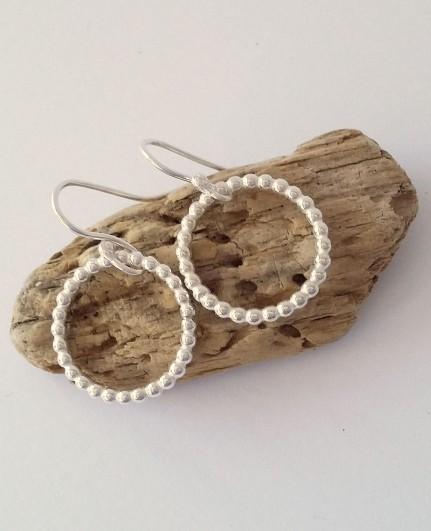 Silver beaded hoop earrings