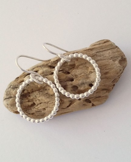 Silver beaded hoop earrings