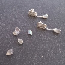 Silver and labradorite drop earrings