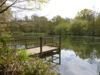 The jetty and lake at Sissinghurst castle gardens nr Cranbrook Kent