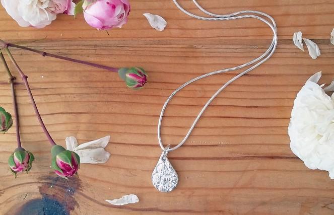Fine silver teardrop vintage lace pendant handmade