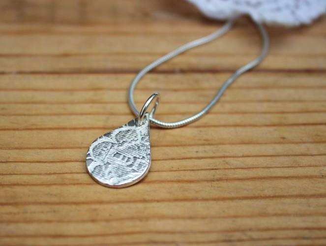 Handmade jewellery lace pattern silver pendant