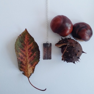 copper clay leaf pendant