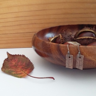 copper clay leaf rarrings