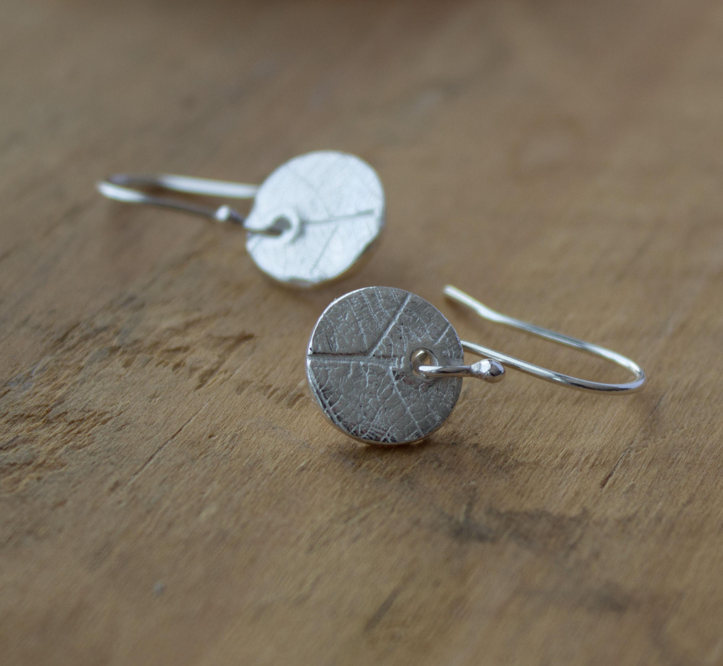 handcrafted leaf pattern eco silver dangle earrings