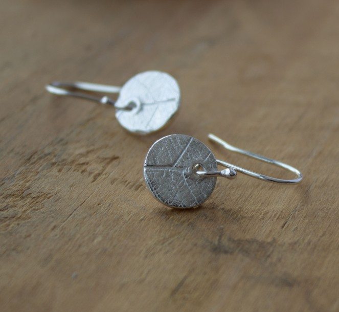 handcrafted leaf pattern eco silver dangle earrings