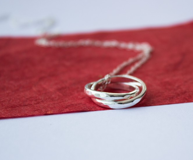 hammered silver hoops pendant