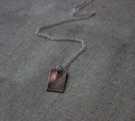 copper clay leaf imprinted fern pendant silver chain