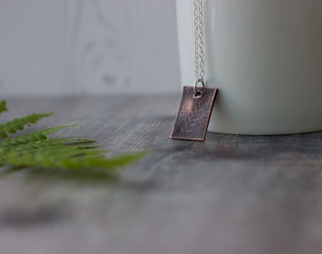 copper pendant fern pattern rustic jewellery