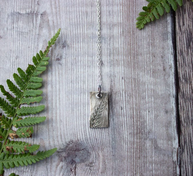Handmade silver clay rectangle pendant leaf pattern