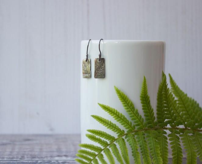 oxidised leaf pattern fern nature inspired drop earrings