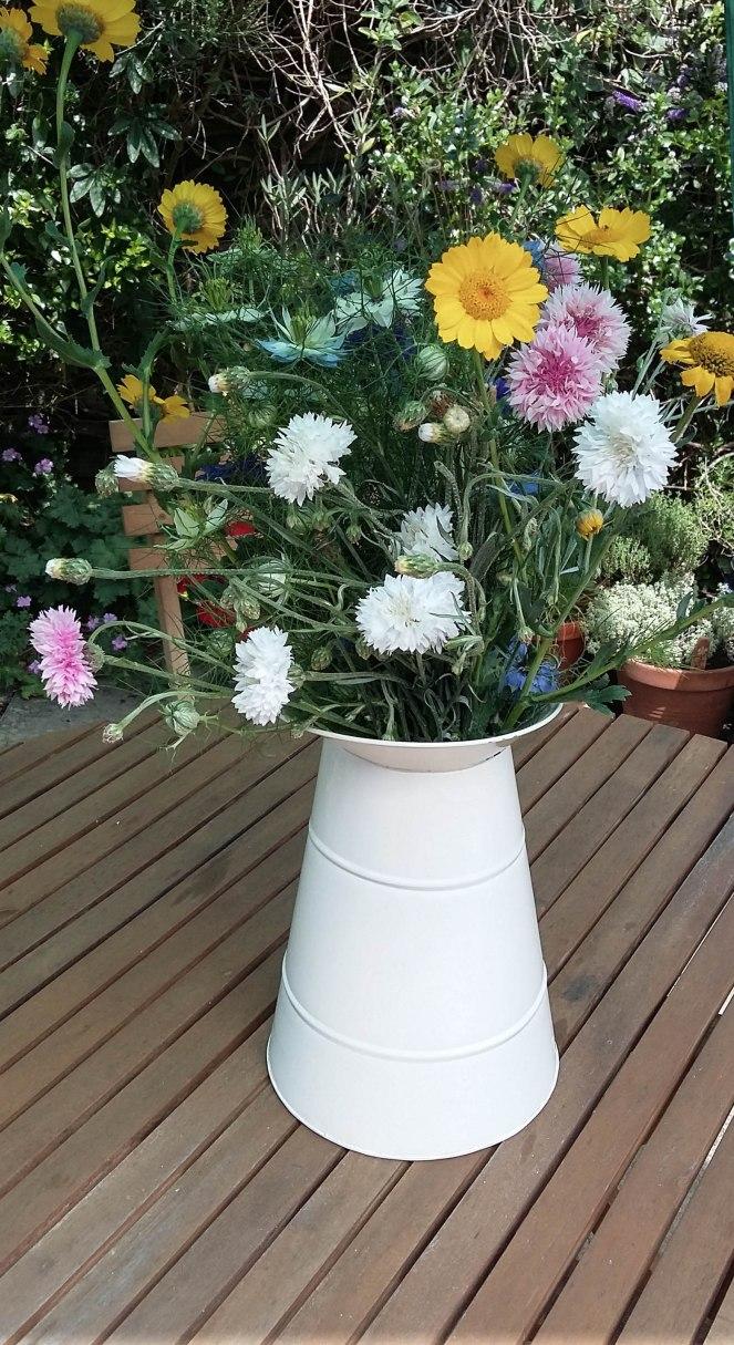 Blooming Green wildflower jug of flowers redhenjewelleryblog