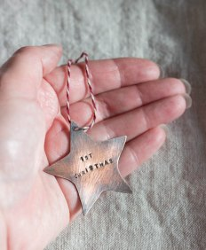 copper christmas star oxidised handstamped 1st Christmas keepsake tree decoration2