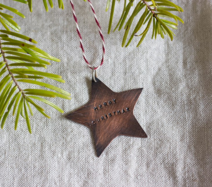 copper christmas star oxidised handstamped tree decoration Folksy