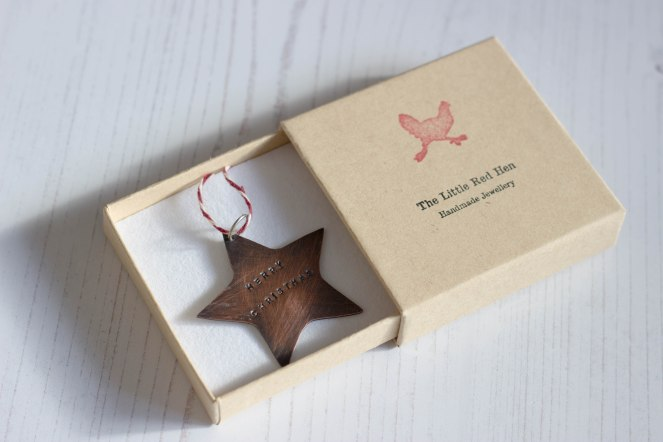 copper christmas star oxidised handstamped tree decoration handmade gift the little red hen