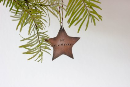 copper christmas star oxidised handstamped tree decoration Stocking filler